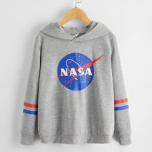 Boys Letter Graphic Striped Sleeve Hoodie