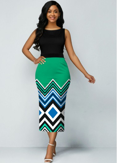 Stripe Print Sleeveless Round Neck Dress - 12