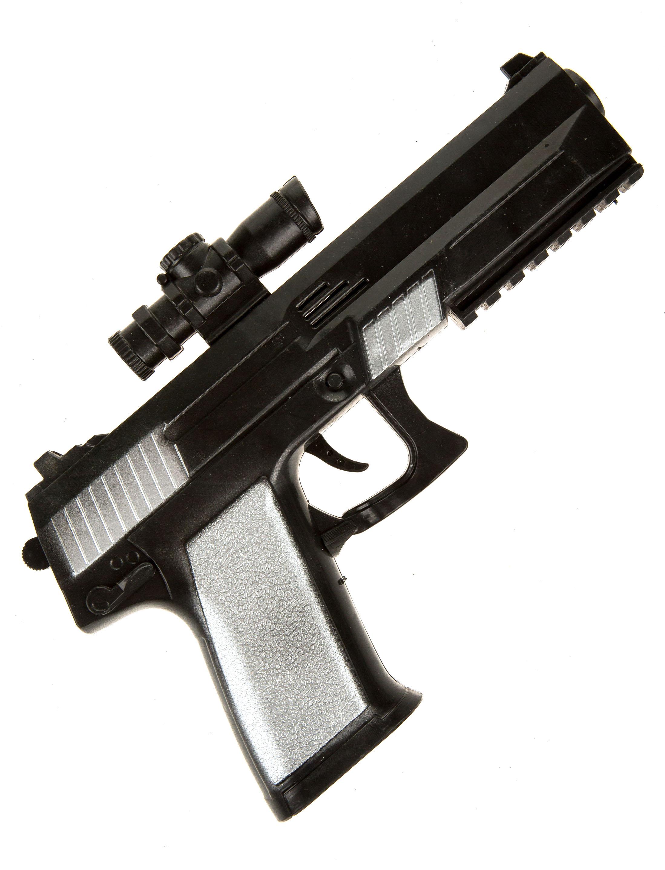Kostuemzubehor Pistole mit Visier schwarz/silber 23cm