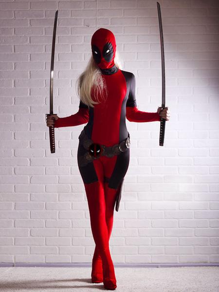 Milanoo Disfraz Halloween Deadpool Zentai Marvel Lycra Spandex Superhero Entero Body Halloween