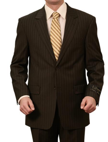 3 Button Front Closure Solid Black Pinstripe Suit Mens Cheap