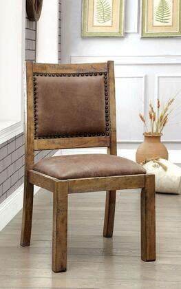 Gianna Collection CM3829SC-2PK Set of 2 Side Chair with Bold and Sturdy Design Padded Leatherette Chair and Nailhead Trim in Rustic Pine