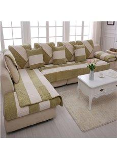 Green and White Strips Print Thicken Four Seasons Cushion Sofa Covers