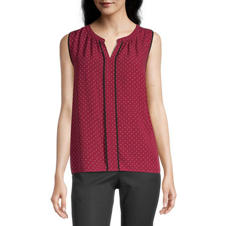 Liz Claiborne Womens Split Crew Neck Sleeveless Blouse, X-large , Red