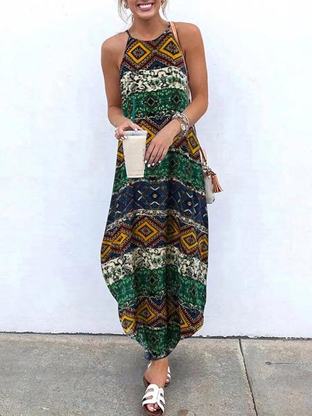 Yoins Casual Tribal Halter Sleeveless Maxi Dress