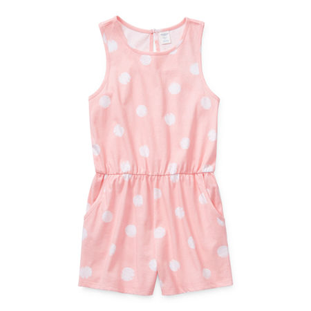 Arizona Little & Big Girls Sleeveless Romper, Medium (10-12) , Pink