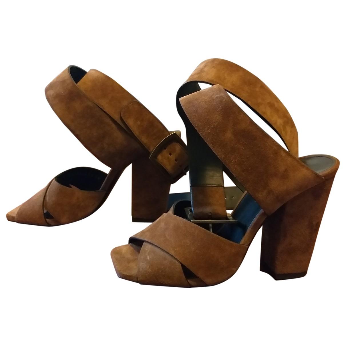 Saint Laurent - Sandales   pour femme en cuir - marron