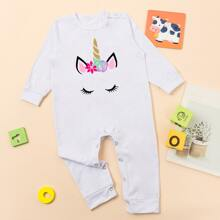 Baby Unisex Cartoon Unicorn Print Jumpsuit