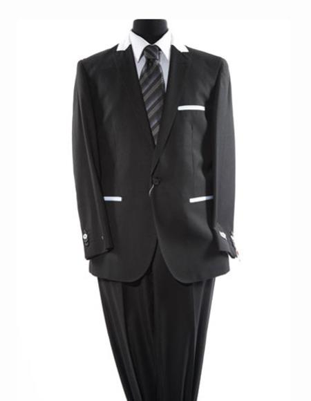Men's Solid Black One Button Peak Lapel Single Breasted Trimmed Suit
