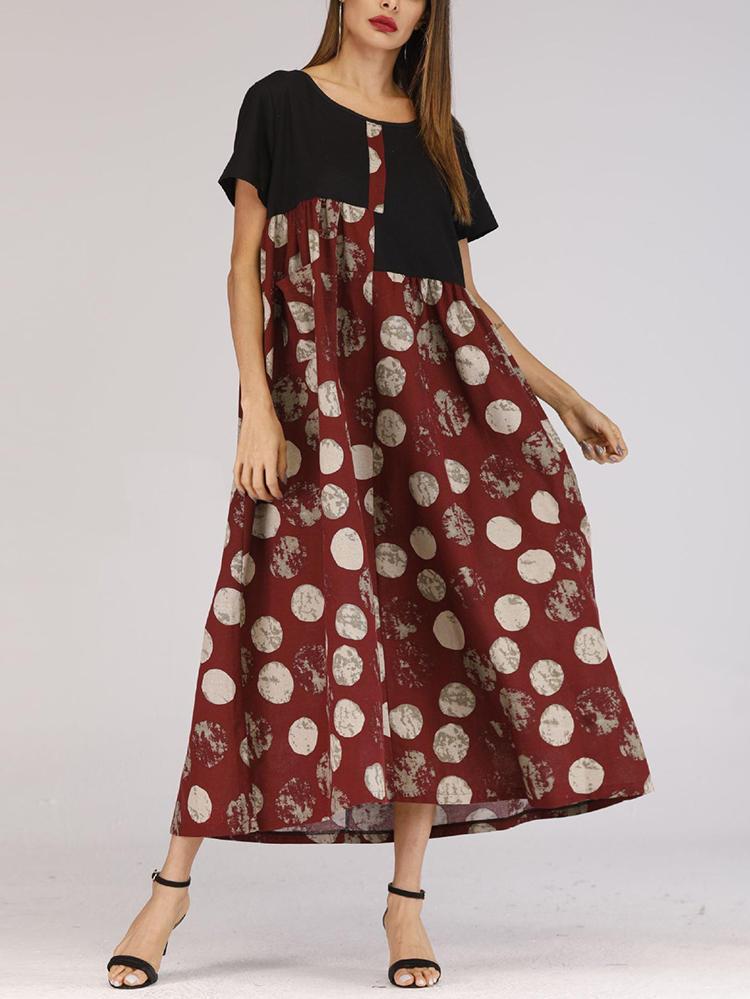 Women Polka Dot Patchwork Short Sleeve Maxi Dress