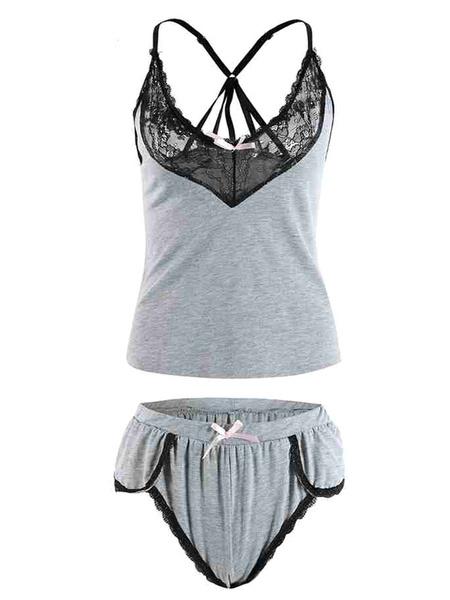 Milanoo Two Piece Sets Grey Loungewear Cotton Blend Women Outfit Sleepwear