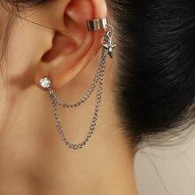 1 Stueck Ohrringe mit Strass und Stern Dekor