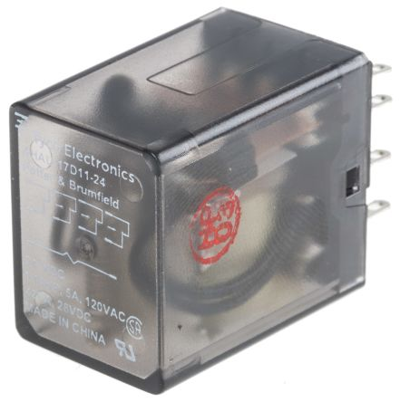 TE Connectivity , 24V dc Coil Non-Latching Relay 4PDT, 3A Switching Current Plug In, 4 Pole