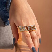 Anillo de dedo con letra grabada con diamante de imitacion 1 pieza