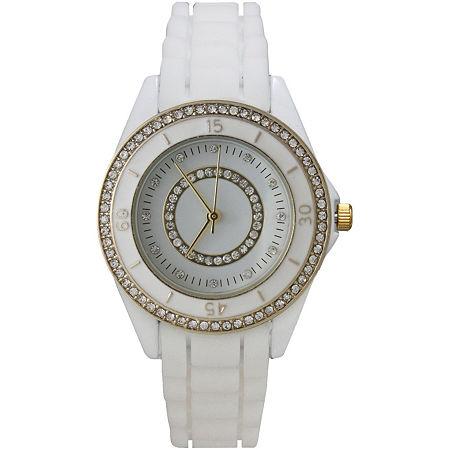 Olivia Pratt Womens Rhinestone Bezel Rhinestone Dial White Silicone Watch 40036White, One Size , No Color Family