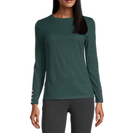Worthington-Womens Crew Neck Long Sleeve T-Shirt, X-small , Green