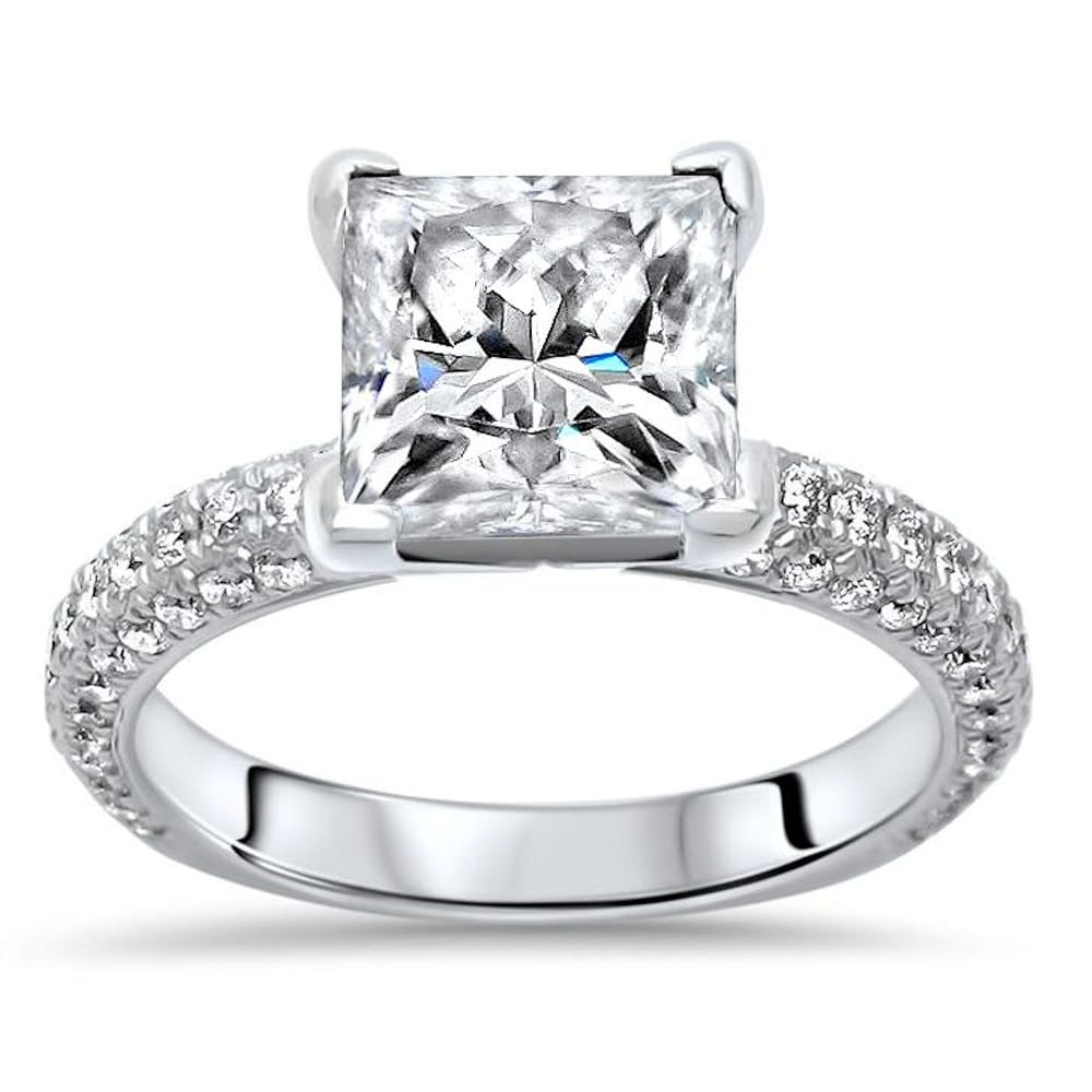 14k White Gold 2.40ct Princess Cut Moissanite and 3/4ct Pave Diamond Engagement Ring (5.5)