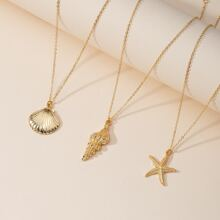 3pcs Gold Shell Charm Necklace
