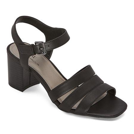 Worthington Womens Beekman Heeled Sandals, 8 1/2 Medium, Black