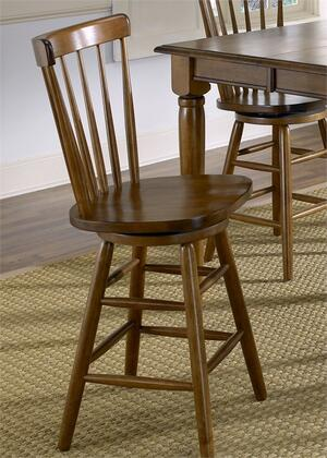 Creations II Collection 38-B1730 30 Copenhagen Barstool with Spindle Back  Swivel Seat and Nylon Chair Glides in Tobacco