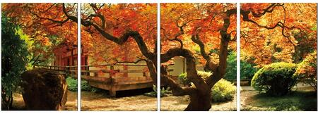 F-AF-1047ABCD 4-Piece Wall Art Set with Autumn Scene in Green  Orange and