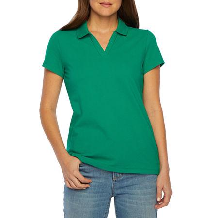 St. John's Bay Petite Womens Short Sleeve Knit Polo Shirt, Petite Large , Green