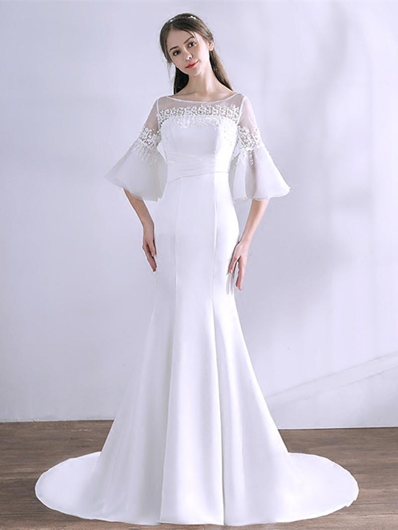 Ericdress 3/4 Sleeve Mermaid Evening Dress With Court Train
