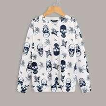 Sweatshirt mit Schaedel und Blumen Muster