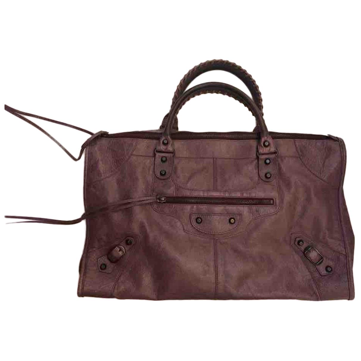 Balenciaga Weekender Handtasche in  Lila Leder