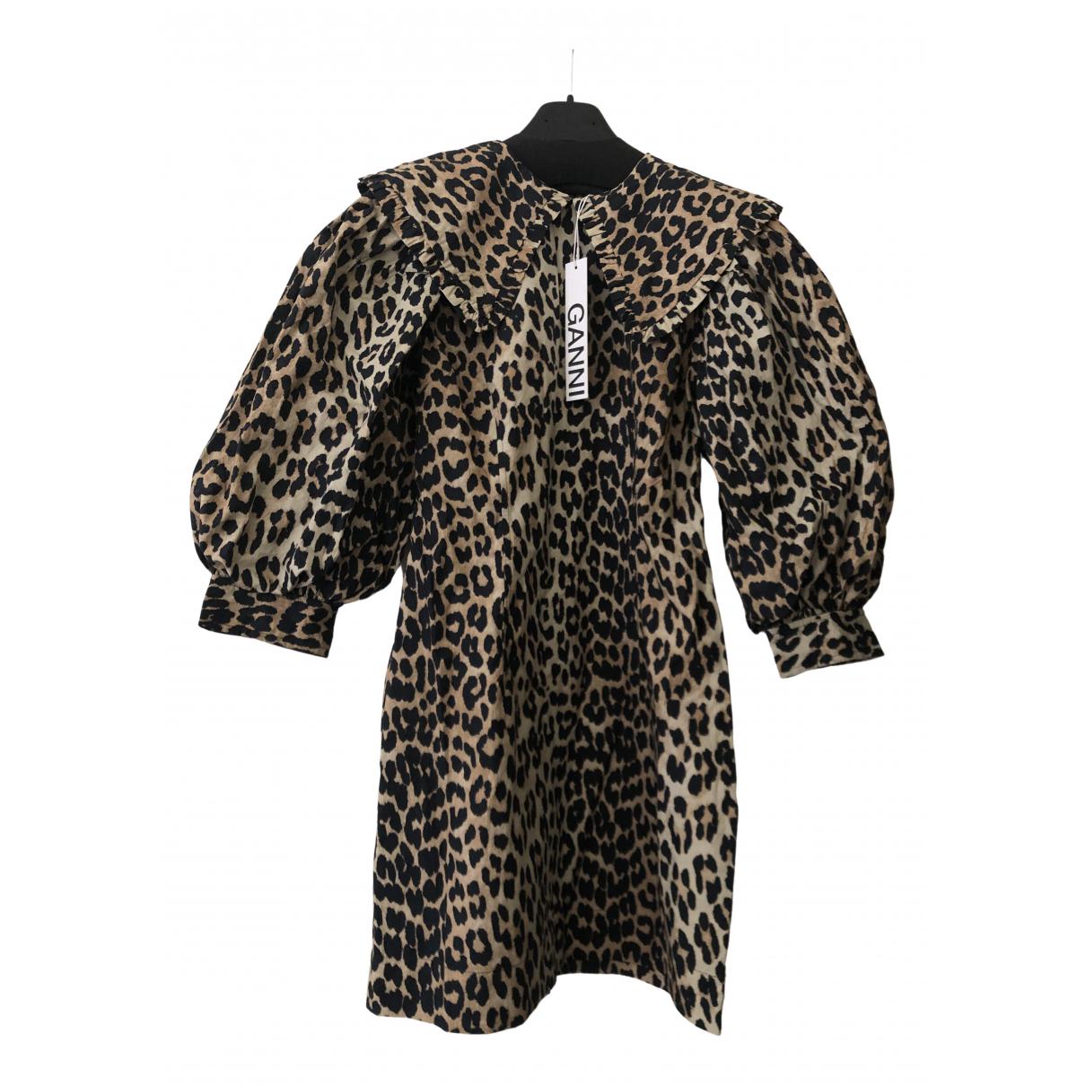Ganni - Robe   pour femme en coton - beige