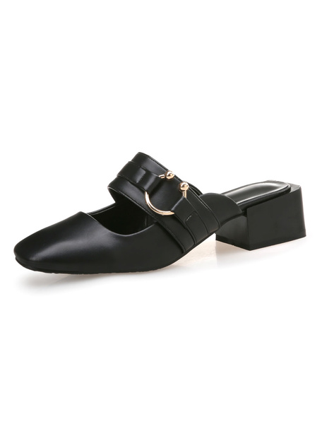 Milanoo Brown Mule Loafers Square Toe Metal Detail Backless Mules For Women