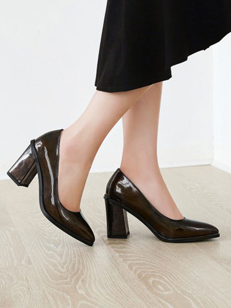 Milanoo Women High Heels Dark Green Pointed Toe Chunky Heel PU Glossy Slip-On Pumps