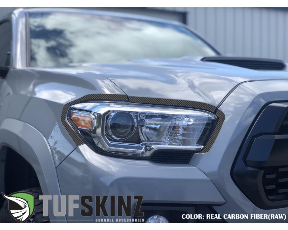 Tufskinz TAC063-RCF-X Headlight Accent Trim Fits 2016-2020 Toyota Tacoma 6 Piece Kit In Real Carbon Fiber(Raw)