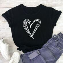 Grosse Grossen - T-Shirt mit Herzen Muster und rundem Kragen