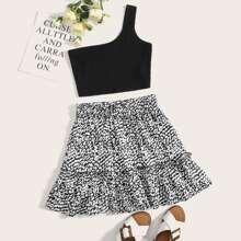 One Shoulder Crop Top & Frill Trim Allover Print Skirt Set