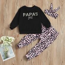 Toddler Girls Letter Graphic Sweatshirt & Pants & Headband