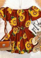 Sunflower Ruffled Tie Mini Dress - Brick Red
