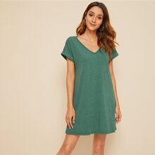 Solid Roll Up Sleeve T-shirt Dress