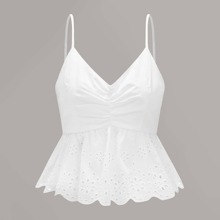 Ruched Eyelet Embroidery Tie Back Cami Top