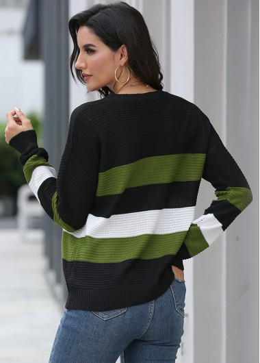 Trendy Round Neck Long Sleeve Contrast Sweater - XL