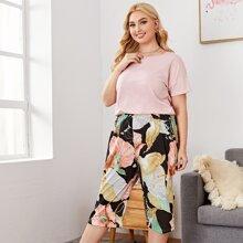 Plus Tee & Floral Print Pants Pajama Set