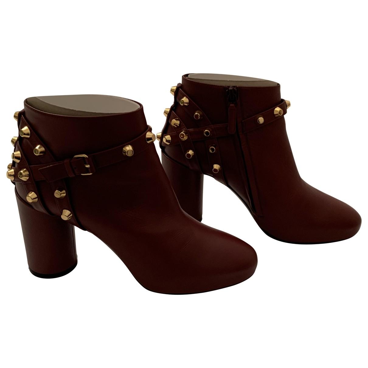 Balenciaga \N Burgundy Leather Ankle boots for Women 37.5 EU