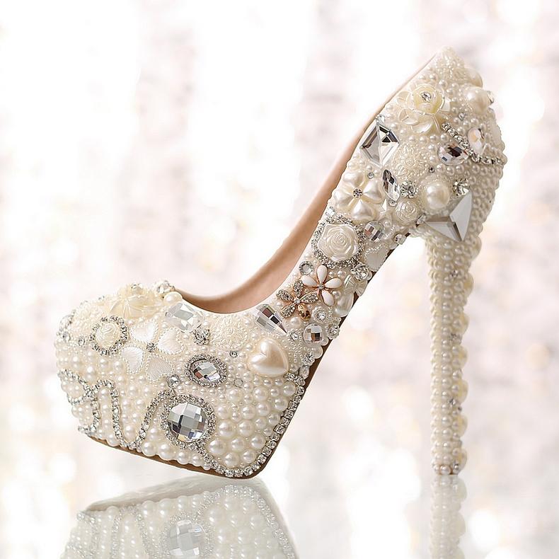 Sweet Pearl Rhinestone Flowers Closed Toe Stiletto Heel Wedding Shoes