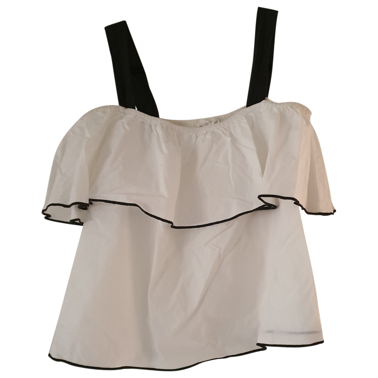 Mango - Top   pour femme en coton - blanc