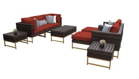 Barcelona BARCELONA-10c-GLD-TERRACOTTA 10-Piece Patio Set 10c with 2 Corner Chairs  2 Club Chairs  1 Armless Chair  1 Coffee Table  2 Ottomans and 2