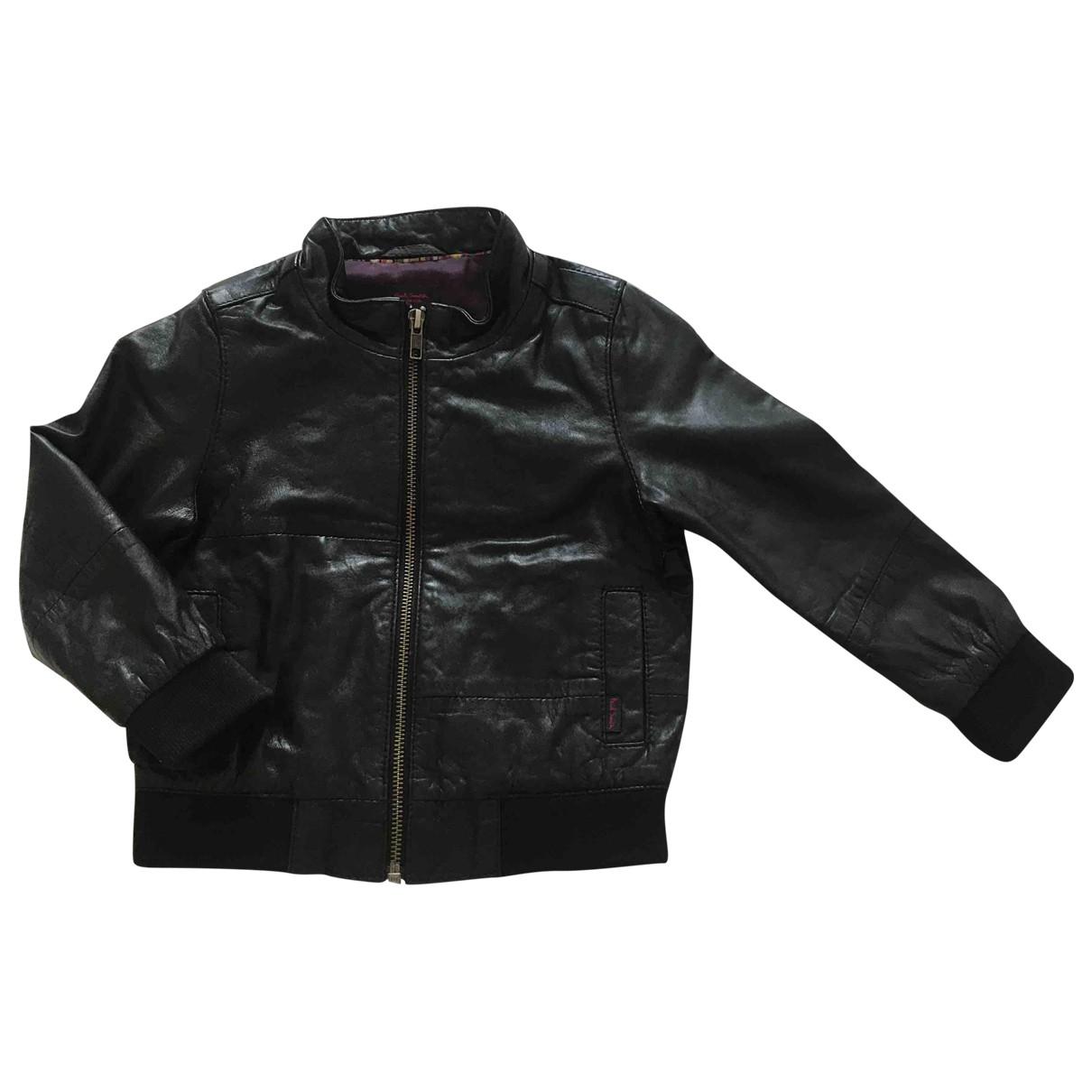 Paul Smith - Blousons.Manteaux   pour enfant en cuir - noir