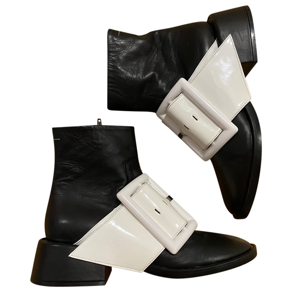 Mm6 \N Black Leather Ankle boots for Women 39 EU