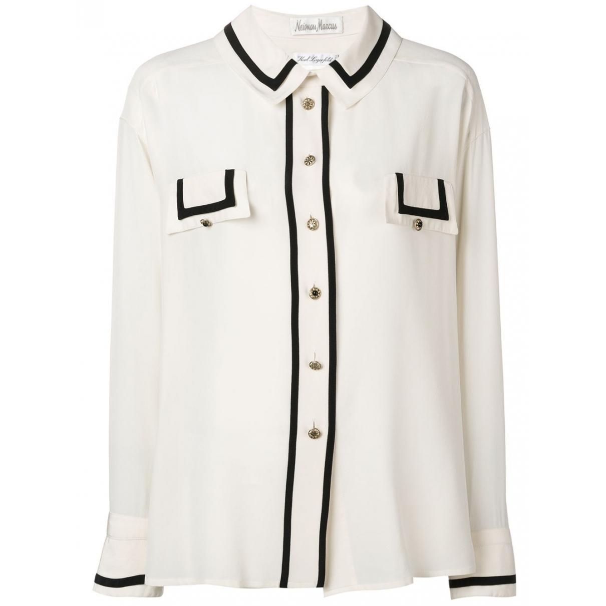 Karl Lagerfeld - Top   pour femme en soie - blanc