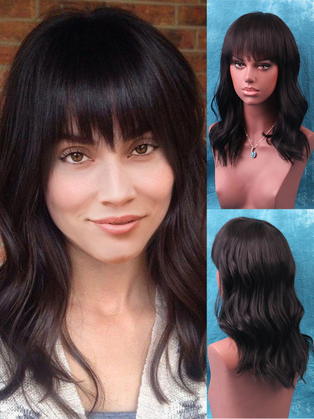 Milanoo Human Hair Wig Body Wave Tousled Long Black Wig With Blunt Bang
