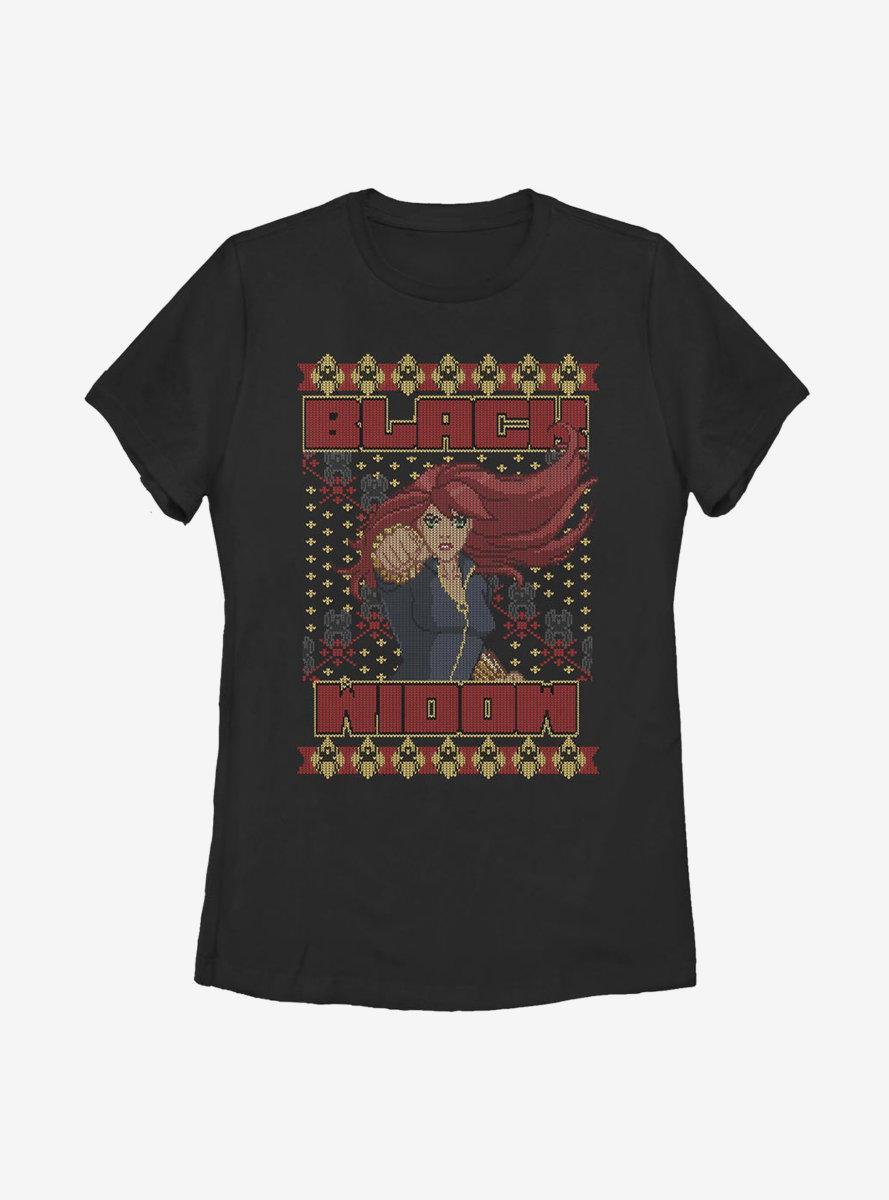 Marvel Black Widow Christmas Holiday Pattern Womens T-Shirt